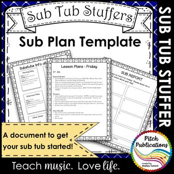 Music Sub Tub Stuffers: Music Sub Plan Template - Substitute Plans Editable