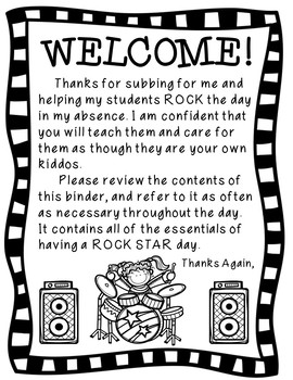 Editable Sub Tub & Substitute Binder Resources with Rock Star Theme