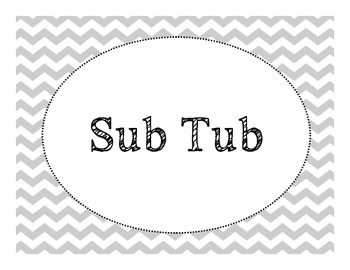 Sub Tub and Turn In Labels- Chevron