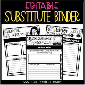 EDITABLE SUB TUB: everything your sub needs {BINDER FORMAT, TOO!}