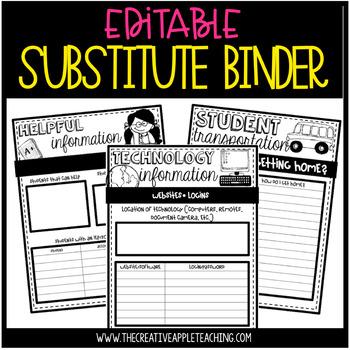 Editable Substitute Binder {tub format, too!}