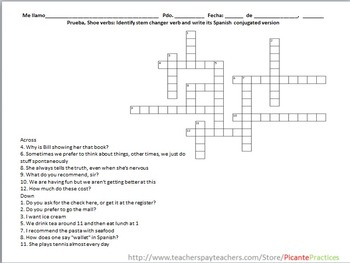 Sub work, Spanish 1.  Two shoe/boot verb puzzles, a crossword and word search