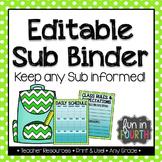 Editable Sub Binder - Blackline Version Included