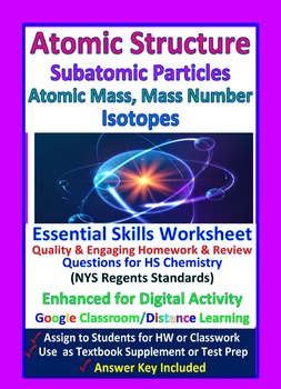 Structure of Atoms, Isotopes, Atomic Mass: Essential Skills Worksheet #10
