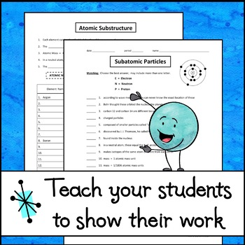 Subatomic Particles and Atomic Substructure - Worksheet