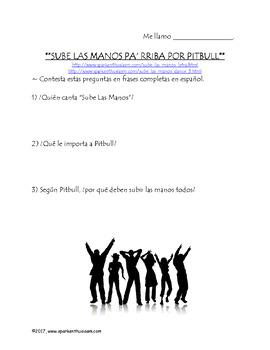 Sube Las Manos Spanish Video Activity