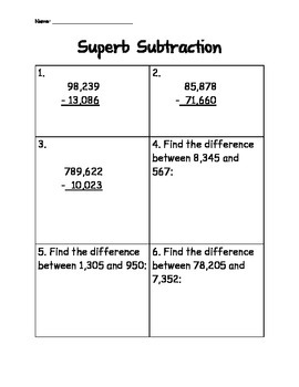 Suberb Subtraction
