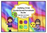 Subitising Circles/Scoots/Games/Worksheets Bundle Aust. Curric./C/C Aligned