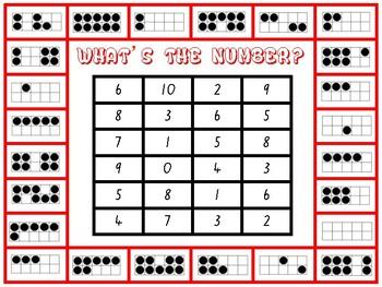 Subitizing Tens Frame Board Games 0-20
