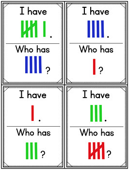 Subitize: I Have... Who Has...? Colored Tally Marks to 10 {22 cards}