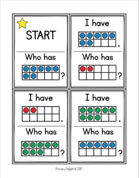 Subitize: I Have... Who Has...? Colored Ten-Frames to 10 {22 Cards}