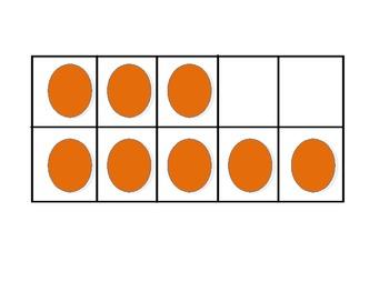 Subitize Numbers 1-10 Horizontal Tens Frames
