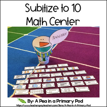 Subitize to 10 Winter Math Center (Hungry, Hungry Snowman)