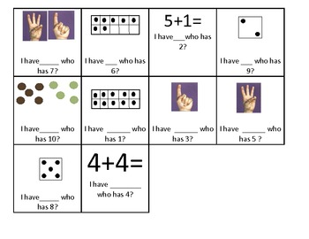 Subitize to 10: fingers, die, 10 frames, dots & equations! I have, who has
