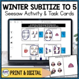 Subitize to 5 Seesaw Activity Winter Themed