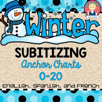 Subitizing Anchor Charts in English, Spanish, and French