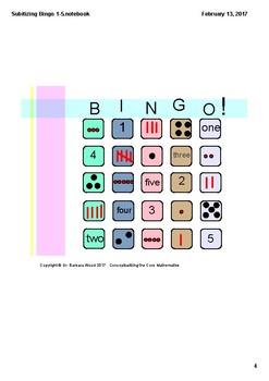 Subitizing BIngo Numbers 1-5