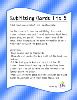 Subitizing Cards 1 to 5