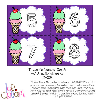 Subitizing Cards AND Number Formation Cards (1-20) - Ice Cream Theme