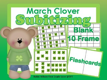 Subitizing Cards, Blank 10 Frame March Clover