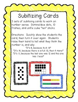 Subitizing Cards:  Dots, Ten Frames, and Unifix Cube Towers