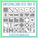 Subitizing Cards (Number Sense) to 16 Pack 1 Clip Art Set for Commercial Use