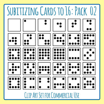 Subitizing Cards (Number Sense) to 16 Pack 2 Clip Art Set for Commercial Use