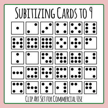 Subitizing Cards (Number Sense) to 9 Clip Art Set for Commercial Use