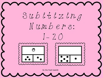 Subitizing Cards Numbers One through Twenty