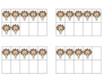 Subitizing Cards - Thanksgiving Dot Patterns and Ten Frames