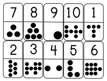 Subitizing Dominoes Math Game for Numbers 1 to 10 for Kindergarten