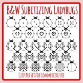 Subitizing Dot Lady Bugs Black and White Insect Math Clip Art Set Commercial Use