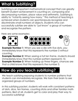 Subitizing (Number Sense) Fall Edition
