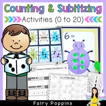 Subitizing and Counting to 20 - Games, Worksheets & Playdough Mats