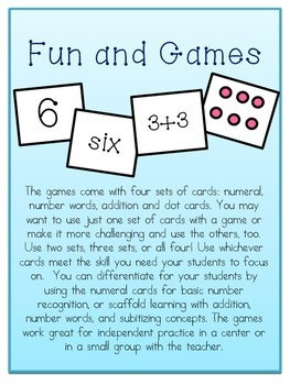 Subitizing Games, Practice Pages and Assessment