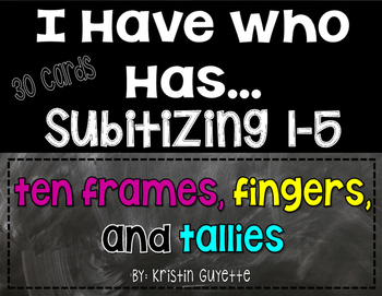 Subitizing/Number Fluency: I have Who Has (Numbers 1-5)