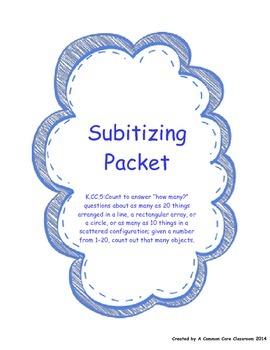 Subitizing Math Packet