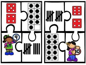 Subitizing Math Puzzles Numbers 1-10
