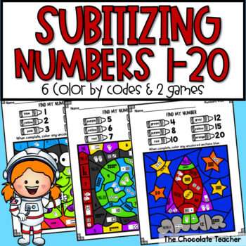 Subitizing Numbers 1-20 Color By Code and Games