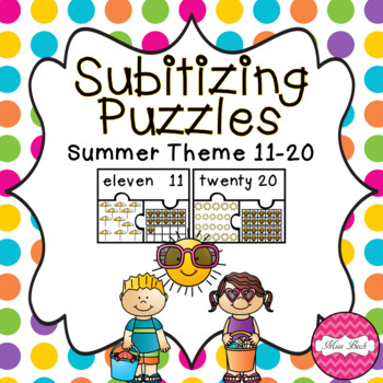 Subitizing Puzzles 11-20- Summer Theme