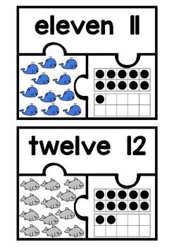 Subitizing Puzzles 11-20- Under the Sea Theme