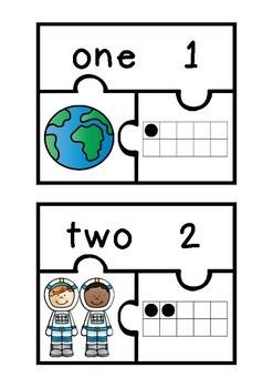Subitizing Puzzles- Space Theme
