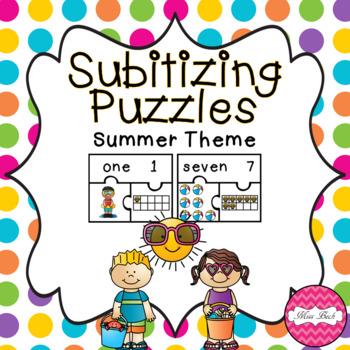 Subitizing Puzzles- Summer Theme