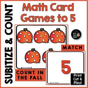 Subitizing: Spatial Visualization Cards 1-5, Fall Pumpkins