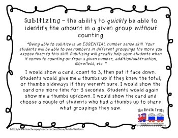 Subitizing Ten Frame Dot Cards