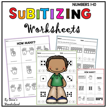 Subitizing Worksheets Number Recognition 1-10 by Dana's ...