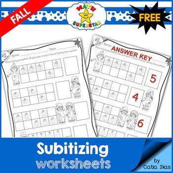 Subitizing Worksheets - Fall- FREE SAMPLE