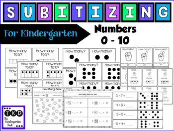 Subitizing - for Kindergarten