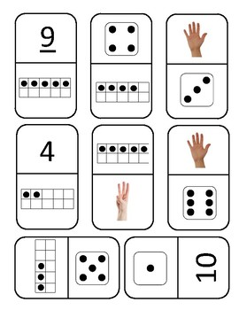 Subitizing/ number recognition dominos