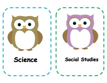 Subject Area Owl Classroom Decor